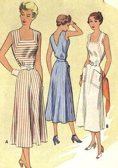 Vintage 50s McCalls 7998 Misses V-Neck Back, Square Neck Front Sun Dress or Jumper Sewing Pattern Size 12 Bust 30