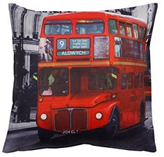 """Londres Bus Picture Print 17/""""x17/"""" Filled Cushion .100/% polyester Machine Washable"""
