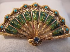 Vintage 18k Gold Enameled Fan Brooch with Turquoise - Perfect Gift for Her by VintageJewelries on Etsy