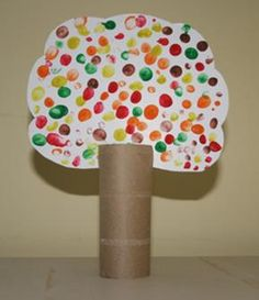 Create a DIY fall leaves art project using thumbprints for the changing leaves and a cardboard toilet paper roll and the trunk. #September #backtoschool #autumn #Halloween #October #art #kids #children #preschool #prek