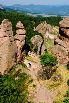 The Belogradchik Rocks are a group of strange shaped sandstone and conglomerate rock formations located on the western slopes of the Balkan Mountains (Stara Planina) near the town of Belogradchik in northwest Bulgaria. V