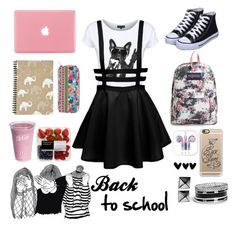 """""""Back to school"""" by epapach ❤ liked on Polyvore featuring JanSport, Casetify, Accessorize, GUESS and Waterford"""