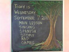 chalk board waldorf second grade - Google Search