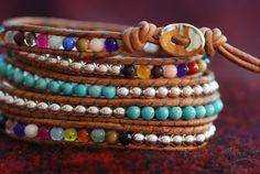 Inspired 5x leather wrap bracelet with turquoise by SuziBeadz, $75.00