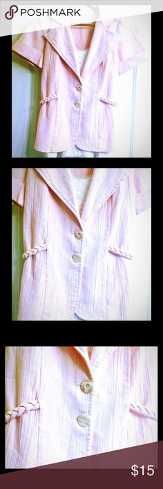🌸🌸pink button up braid side short sleeve blazer This listing is for a light pink blazer it is short sleeve, sleeve is cuffed, & it has a collar also has cute accent braid around each side, buttons look like a pearl color pink abalone shell, super unique! There is no tags so I'm not too sure where it is from this has only been worn one time and it is in excellent condition it is a size medium can fit small as well looks cute with a velvet white tank top underneath it like in the picture…