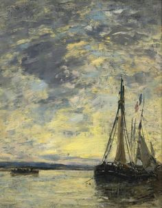 Sailer on the Water 1885 90 | Eugene Boudin | oil painting #OilPaintingWater