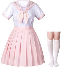 Elibelle Japanese School Girls JK Uniform Sailor White Pink Pleated Skirt Anime Cosplay Costumes with High Socks Toys Up-Costumes Anime Cosplay Costumes, Cosplay Outfits, Anime Outfits, Skirt Outfits, Cute Outfits, Cosplay Dress, Kawaii Fashion, Cute Fashion, Fashion Outfits