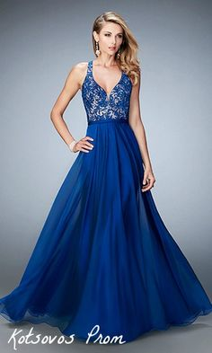 22186 is stunning in this marine blue color! #Prom #LaFemme #Prom #Dress