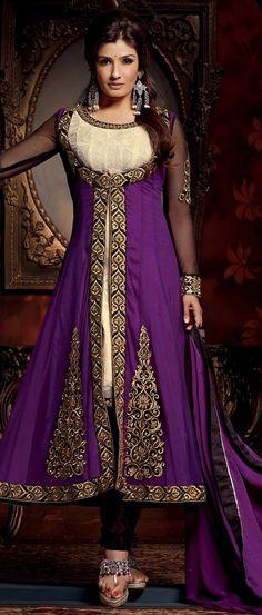 #Purple and Cream Net and Faux Georgette #ChuridarKameez @ $90.73