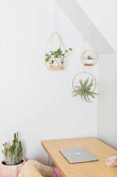 Brass Ring Hanging Planter DIY | A Beautiful Mess | Bloglovin'
