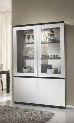 Vitrine design 2 portes laquée blanche et noire Krista - Vitrine - Autres  meubles - SALLE A MANGER 37c68afb85b4