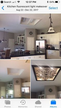 Único e Criativo Kitchen fluorescent light makeover. We removed old fluorescent light cover and l. Kitchen Box, Kitchen Redo, New Kitchen, Kitchen Remodel, Kitchen Design, Kitchen Ideas, Fluorescent Kitchen Lights, Fluorescent Light Covers, Kitchen Ceiling Lights