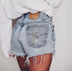 Vintage Levis 501 High Waisted Denim Shorts Frayed Levi