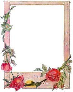 Vintage Rose Frame ~ free to print Vintage Frames, Vintage Cards, Vintage Paper, Rose Frame, Flower Frame, Red Rose Pictures, Frame Border Design, Printable Frames, Creative Pictures