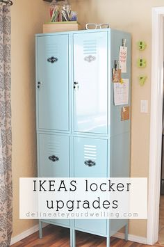 See how to best organize and update your metal IKEA lockers! Tips for what to store in your lockers and what containers are best to use. Delineate Your Dwelling Ikea Lockers, Entry Way Lockers, Home Lockers, Metal Lockers, Locker Furniture, Baby Furniture, Locker Organization, Locker Storage, Minimalist Home