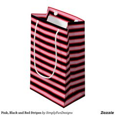 Pink, Black and Red Stripes Small Gift Bag