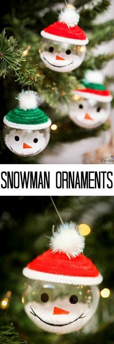 Bring winter indoors by decorating with these easy Snowman Ornaments. About 5 minutes to make! And a great Christmas Craft to make with the kids. via /2creatememories/