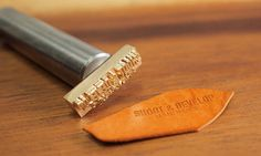 Items similar to Personalized Leather stamp with hammering handle - brass stamp for leather embossing on Etsy Leather Embossing, Embossing Stamp, Leather Stamps, Sewing Leather, Cow Leather, Leather Craft, Logo Stamp, Vegetable Tanned Leather, My Design