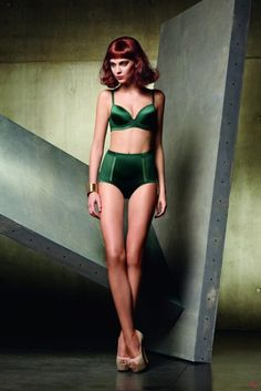 How can you not feel good wearing this emerald green lingerie?