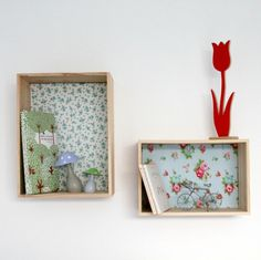 Etagère caisse décorative en bois et tissu - Fleurs des champs (bleu) - L : Meubles et rangements par littleboheme