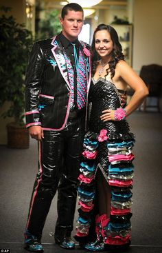 Handy pair: Solomon High School student Brooke Wallace, right, and her prom date Mark Aylward in clothes she made out of duct-tape for a national contest Duct Tape Clothes, Duct Tape Projects, Duck Tape Crafts, Duck Tape Dress, Nice Dresses, Prom Dresses, Prom Outfits, Couple Outfits, Duct Tape