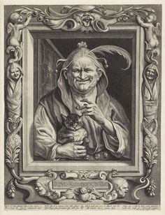 Oude nar met kat, Alexander Voet (II), 1662 - 1693,  gravure, h 436mm × b 330mm.   Rijksmuseum, Amsterdam.