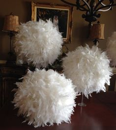 Kissing Ball Feather Table Decoration Centrepiece For Wedding Or Big Event Pom Pom Decorations, Sweet 16 Decorations, Christmas Table Decorations, Wedding Decorations, Feather Decorations, Ostrich Feather Centerpieces, Mardi Gras Centerpieces, Feather Lamp, Christmas Wonderland