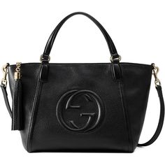 Gucci Soho Leather Top Handle Bag ($1,590) ❤ liked on Polyvore featuring bags, handbags, black, embossed leather handbags, real leather handbags, zip purse, genuine leather handbags and leather tassel handbags