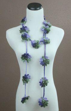 Crochet Flower Scarf, Crochet Flower Lariat, Womens Accessories, Spring Fashion, Purple and Green Scarf, $22.0