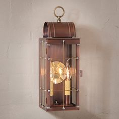 This Small wall lantern measures tall by wide and deep and is available in your choice of either a Weathered Brass or Antique Copper finish. Wired with single socket, 60 watts max. Handcrafted in Pennsylvania. Outdoor Barn Lighting, Outdoor Sconces, Outdoor Wall Lantern, Outdoor Walls, Light Beam, Antique Copper, Glass Panels, Glass Shades, Candle Sconces