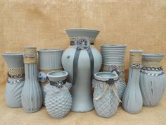 Grey Painted Vases Wedding Vases Party Decor by AngelasAntics, $69.00