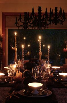 "holloween table scape - another ""eerie elegance dinner party idea!"