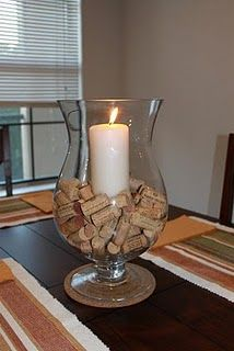 Will switch out the corks to match the current holiday. ie...Christmas: mini ornaments, Valentine's Day: message hearts.