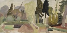 'Woodland Sussex' by British artist Ivon Hitchens (1893-1979). Oil on canvas, 20.5 x 41 in. via Jonathan Clark & Co