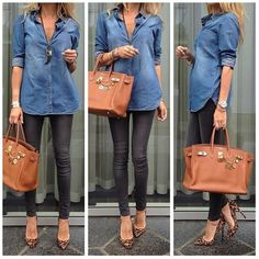 Denim top with faux leather leggings and cheetah heels...wouldn't mind being that skinny either.