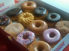 French Cruller, Strawberry Frosted, Boston Kreme, oh my! A great Dunkin' dozen.