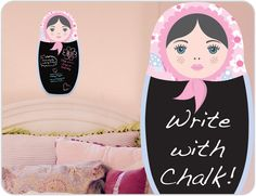 This adorable Babushka Doll Chalkboard will look perfect in every girls room. She'll love writing notes and events on her blackboard. Buy online.