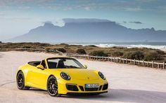 Porsche 911 GTS, 2017, 991, yellow convertible, yellow Porsche, sports car, Desert
