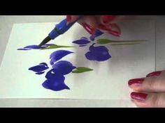 「ほのぼの一筆画」 桔梗(ききょう) の描き方・水彩画 2分44秒 - YouTube