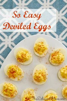 Easy Deviled Eggs are the BEST classic recipe that is easy and healthy! This budget-friendly appetizers great for the holidays and Christmas Eve dinner. #deviledeggs #partyappetizer #brunch #breakfast #babyshower #bridalshower #budget #holidays #easter #christmasevedinner #best #classic #thisdelicioushouse Christmas Eve Appetizers, Brunch Appetizers, Christmas Brunch, Appetizers For Party, Brunch Recipes, Appetizer Recipes, Breakfast Recipes, Christmas Meals, Dip Recipes