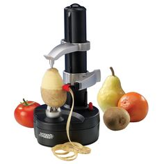 Rotato Express is a motorized peeling monster. Simply clamp your fruit or vegetable between the tines, level the peeler, turn it on, and the Rotato does the rest. A set designed to last you years if not decades, each Rotato includes two spare blades and a thumb knife for paring.