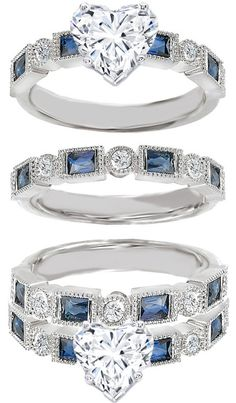 Heart Shape Diamond Engagement Ring Blue Sapphire Accents & Matching Wedding Ring