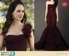 Victoria's burgundy gown at Emily's wedding on Revenge. Outfit Details: http://wornontv.net/23991 #Revenge #fashion