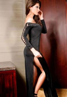 Strapless Gown With Long Lace-Up Sleeves And Side Slits