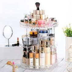 Features Acrylic makeup organizer fit any decor to your dresser or countertop. Great for any girl, teen, adult, fashion and beauty lover. 360° rotating adjustable carousel storage perfect for cosmetics and perfume. Lazy Susan swivel base rotates 360 degrees for convenience. Steady base ensure cosmetics stay in place du