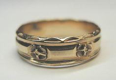 Antique Ladies Wedding Band 14K Yellow Gold Ring Size 6.25 UK-M Art Deco Vintage #Unbranded #Band