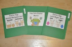 "Easter Themed File Folder Games: Practice ""directionals"" with your students with many of our Easter themed file folder games: Easter Egg Beside/Between Sort, Hop Into Easter Match and Easter Egg Left/Right Sort."