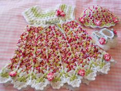 Beautiful Crocheted Baby Girl Dress, Hat and Booty Set Layette Photo Prop In Spring Colors (found at crochet4me56 store on Etsy)