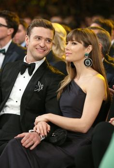 Justin Timberlake gave wife Jessica Biel a loving glance during the 2013 Grammys in LA. Click for more cute pictures!
