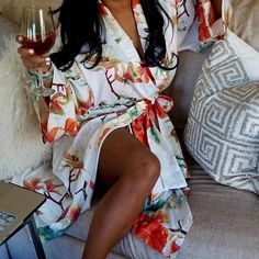 Lounge in luxury wearing a colorful, happy floral robe from Natori. Discover the new robe collection at natori.com. #relax #unwind #Natori